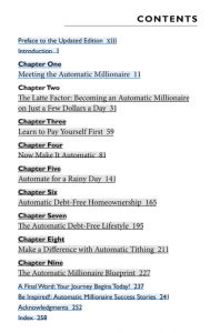 The Automatic Millionaire A Powerful One-Step Plan to Live and Finish Rich Table of Contents